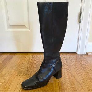 Etienne Aigner E-Jaffia Black Leather Heel Boots 6